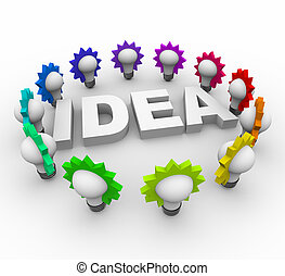 bombillas, rodeado, palabra, idea, luz
