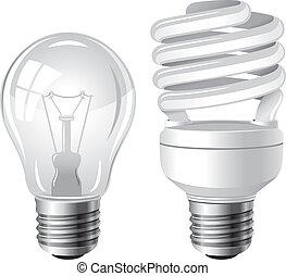 bombillas, tipo, dos, luz