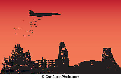 Bombing of the city - The aircraft dropped bombs over the...