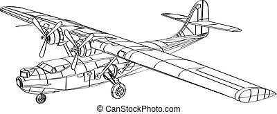 bombplan, patrull båt, consolidated, pby, teckning, fodra, flygning, amfibisk, flygplan, catalina