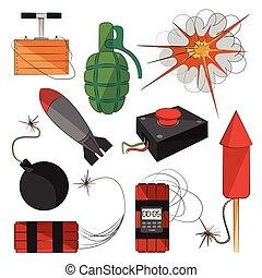 bombs., conjunto, explosivos