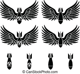 bombs with wings. stencils. first variant. vector illustration