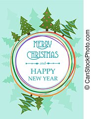 bomen., groet, illustratie, verfraaide, vector, cirkel, kerstmis kaart
