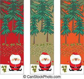 bomen, kerstmis, kerstman