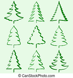 bomen, kerstmis, verzameling