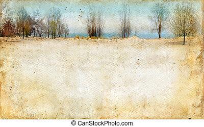 bomen, langs, een, meer, op, grunge, achtergrond