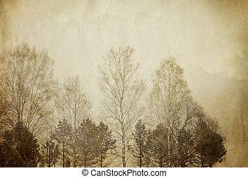 bomen, op, ouderwetse , papier, sheet.