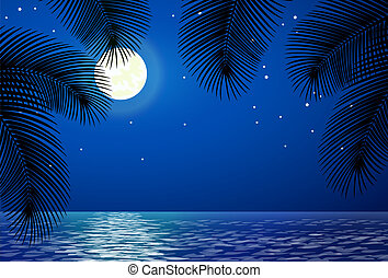 bomen., palm, landscape, zee, maan