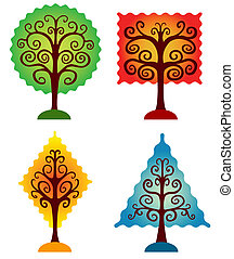bomen., set, geometrisch
