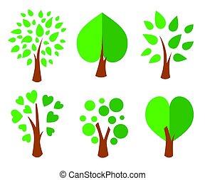 bomen., verzameling, van, ontwerp, elements., iconen, set., vector, illustratie