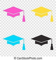 boné, ícones, morteiro, símbolo., graduação, cmyk, tábua, educação, ou