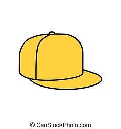 boné, amarela, batida, ícone