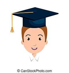 boné, avatar, graduação, homem