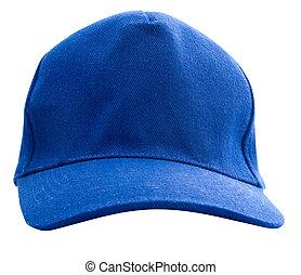 boné azul, basebol, isolado