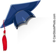 boné azul, graduação, academicic, papel, canto