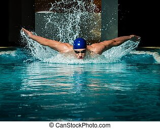 boné azul, jovem, muscular, homem, piscina, natação
