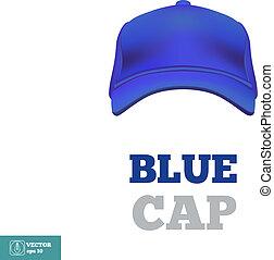 boné azul, vetorial, basebol, frente, vista., template.