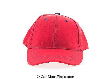 boné, basebol, vermelho