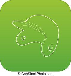 boné beisebol, vetorial, verde, ícone