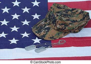 boné, cão, camuflagem, bandeira, tag, nós, fundo, em branco,...