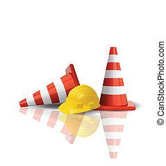 boné, difícil, cones tráfego, isolado