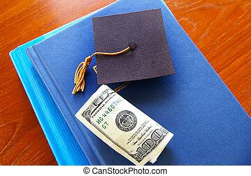 boné, dinheiro, graduação, livros, pilha, pequeno