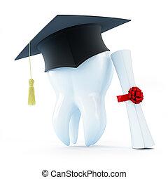 boné, diploma, graduação, dente, odontólogo, fundo, branca