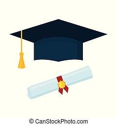 boné, diploma, graduação, experiência., branca, scroll