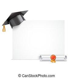 boné, diploma, graduação, scroll