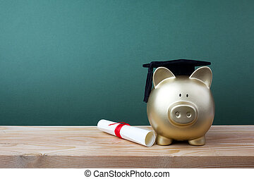 boné, gfold, diploma, frente, verde, piggy, chalkboard., educação, grad, banco, bolsa de estudo