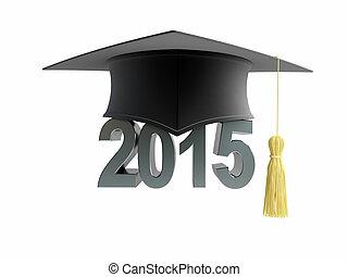 boné graduação, 2015, ligado, um, fundo branco