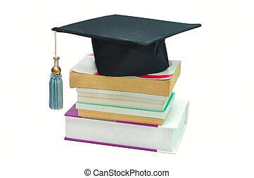 boné graduação, cima, um, pilha livros