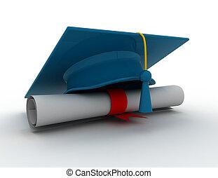 boné graduação, com, diploma.3d, ilustração