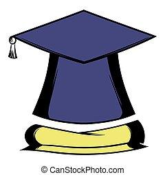 boné graduação, e, diploma, ícone