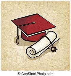 boné graduação, e, diploma, antigas, fundo