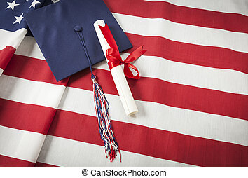 boné graduação, e, diploma, descansar, bandeira americana