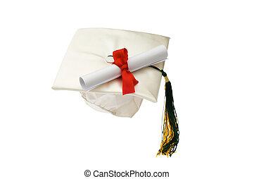boné graduação, e, diploma, isolado, branco