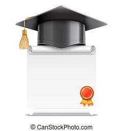 boné graduação, e, diploma, scroll
