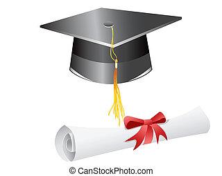 boné graduação, e, diploma