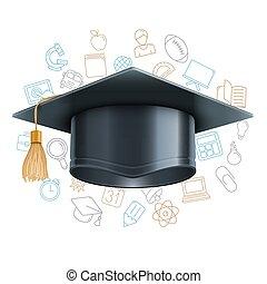 boné graduação, e, educação, símbolos