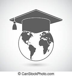 boné graduação, e, globo mundial, ícone