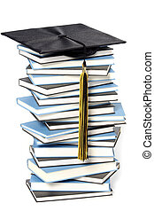 boné graduação, e, livros