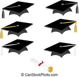 boné graduação, e, tassel