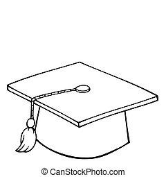 boné, graduação, esboçado