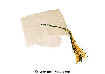 boné graduação, isolado, ligado, a, fundo branco