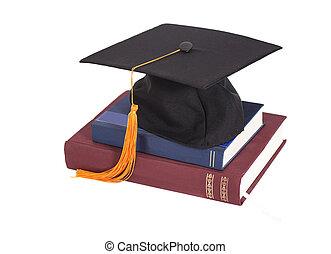 boné graduação, ligado, aderido, de, livros
