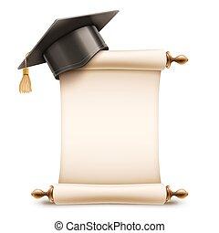 boné graduação, ligado, diploma, scroll