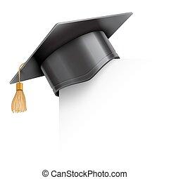 boné graduação, ligado, papel, canto