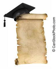 boné graduação, ligado, pergaminho
