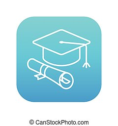 boné, graduação, scroll, papel, icon., linha